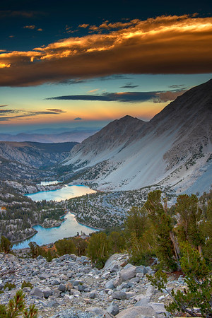 Lakes 1, 2, and 3 at sunset under high winds and lenticular clouds. Taken from the Glacier Trail in the Palisades.