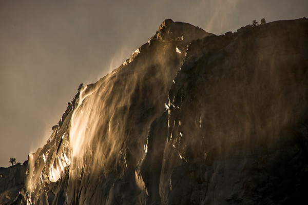 A springtime view of Horsetail Falls in late afternoon light