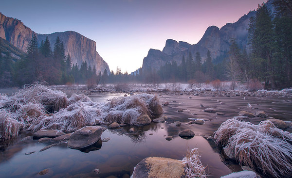 An early morning view of Yosemite Valley along the Merced River.