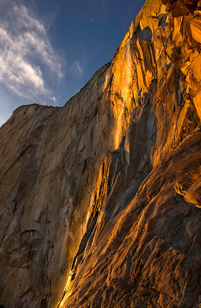 """Horsetail Falls at sunset with the """"magical light"""" on it photographed while on the face of El Cap."""