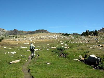 David hikes up towards the Great Sierra Mine