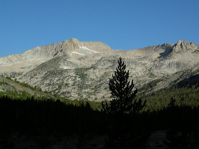 Morning view of Mt Conness from camp