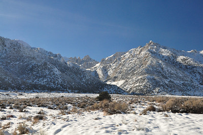 We drove up Whitney Portal road to the snow line right at Lone Pine Campground  (around 6000 ft) to scout for the next day's snowshoe hike.