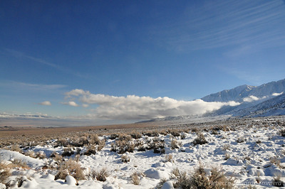 Low clouds hung right above the snowline on both sides of the Valley.
