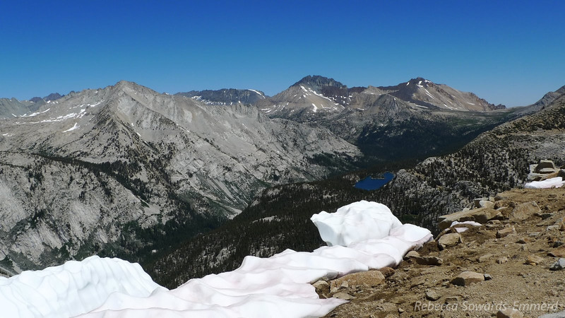 View of Bench Lake - camp. Split Mtn is the big peak on the horizon