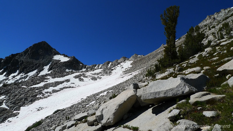 Arrow Pass from below. It was snowed over but it was still easy to gain the ridge just to the right of the low point.
