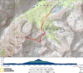 GPS track of our climb of Arrow Peak from Bench Lake