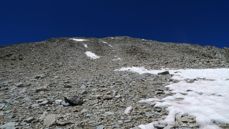 And now the final climb. Scree and talus. Whee.
