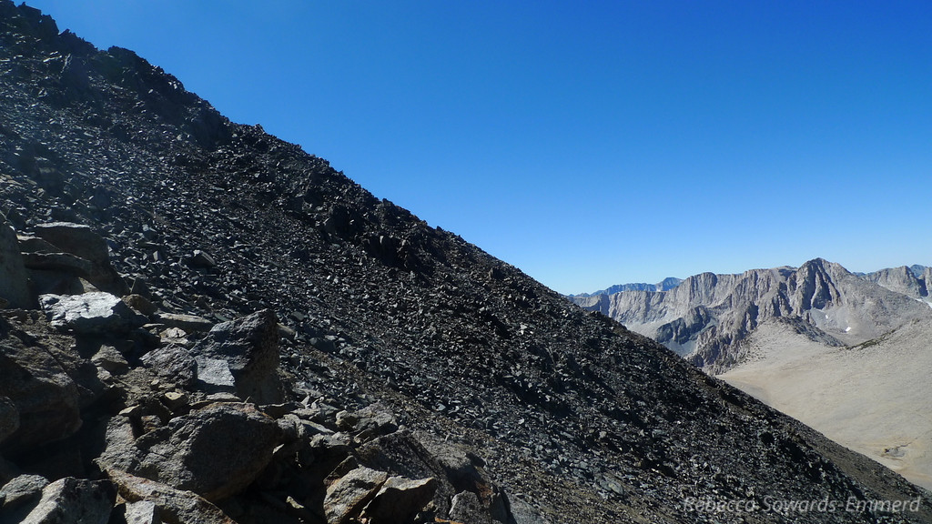 Time to leave the nice road/trail and start up the steep, loose, sloggy chute towards the top.