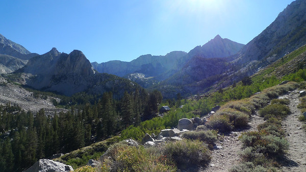 Four Gables in the distance with an unnamed pointy peak ahead. We finally see the old mining cabins by Horton Lake, signifying the end of today's hike and climb (about 4 miles with 2000 ft of gain).