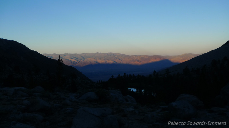 Sunset from camp, with the shadow of Mt Tom over Bishop