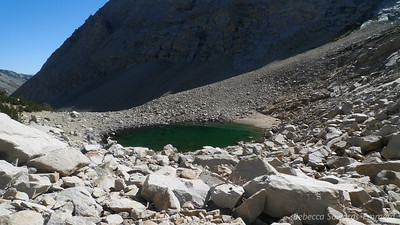 Looking back at the green lake. Pavla on the left for scale.