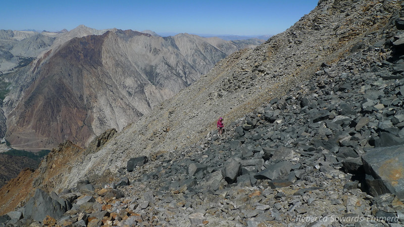 Pavla approaching the ridge.