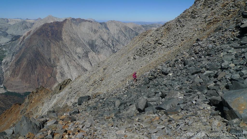 Pavla approaching the ridge.