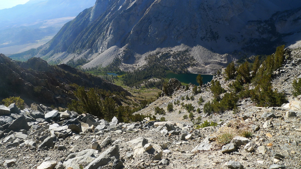 Looking back down on Horton Lakes from one of the switchbacks. We're camped in the middle of this photo, basically.