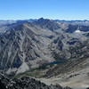 Looking down on Horton Lake (camp) and across at yesterday's peak, Basin Mountain.