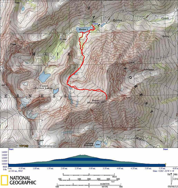 Map of our track up Basin Mountain. Cross the talus on the south side of the lake then follow the use trails along the east side of the creek to the lower lake. Scramble up through the talus to the second lake at around ~11.4k. From this lake head towards the north ridge, and just before hitting the ridge turn south to the summit. It's an easy class 2 route right up to the summit block which has a little borderline class 3 exposure but is still really easy.<br /> <br /> We tried to go around the other side of the lake on the way back but couldn't find a path through the marsh and bushes. Also: there are two chutes that look like they might go from the lower lake straight towards the summit. We didn't investigate since they looked steep and we had no beta. But they might go and help cut down on distance (not that this is a super long climb...)