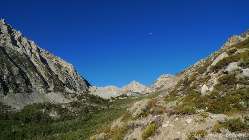 Moon set view as we hike out.