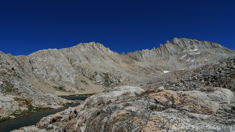 Feather Peak (right) and the drainage that includes Bear Paw Lake and Ursa Lake