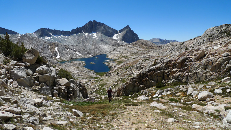 Near the top of the pass. Seven Gables and Vee Lake.
