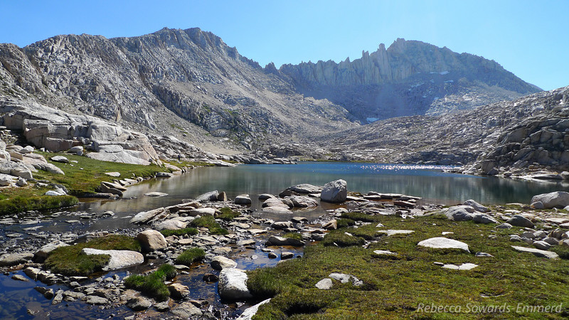 Bear Paw lake and Feather Peak. The Pass is not yet in sight - it's behind the ridge on the right.