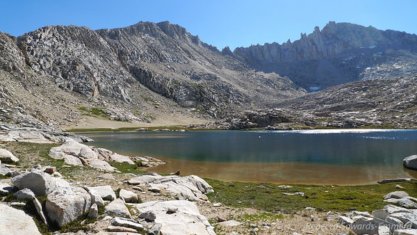Bear Paw Lake. The easiest way up feather pass is to hike along the inlet creek so we're heading over to that sandy section.