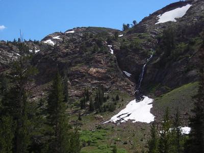 Waterfall beside mine shaft.