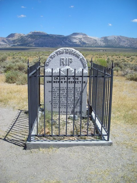 Tomb of the Unknown Prospector<br /> <br /> A memorial created in 2003 for the many people who died searching for gold and silver in the Eastern Sierra in the California gold rush.