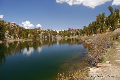 Long Lake. Lots of people fishing.