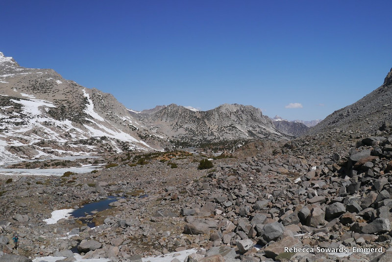 In the talus below bishop pass, looking back towards camp (the orange rock hill in the middle of the photo).