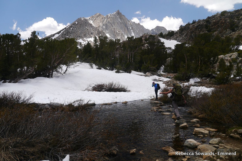 Another stream crossing, and now we're coming across small patches of snow across the trail. Around 11,000 ft.