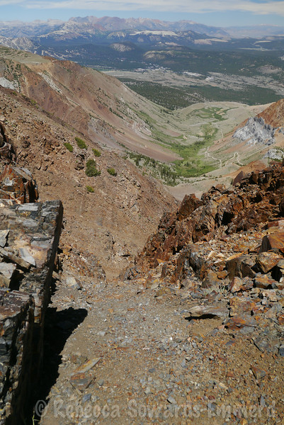 Looking down a chute on Bloody, with the Laurel Lakes road in the distance.