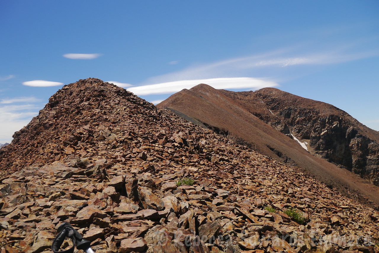 At the 12k point, now we can see the summit. It's the high point to the left of the couloir.
