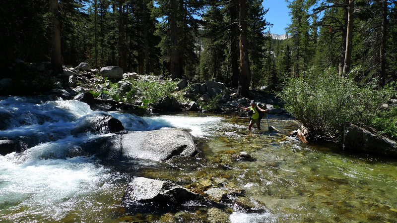 Crossing the South Fork on the JMT