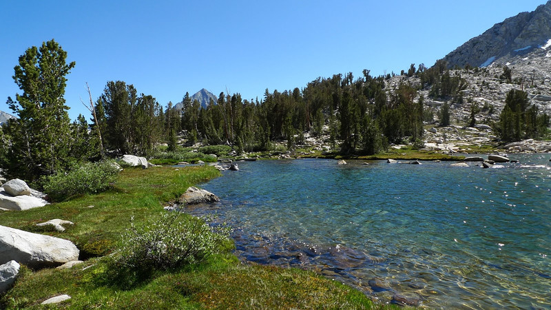 And we finally reach the big lake below Cartridge Pass. Gorgeous! But buggy. We stopped here for a long foot soak in the crystal clear water before pushing on to Cartridge Pass. We wanted to get into Lake Basin for camp this night.