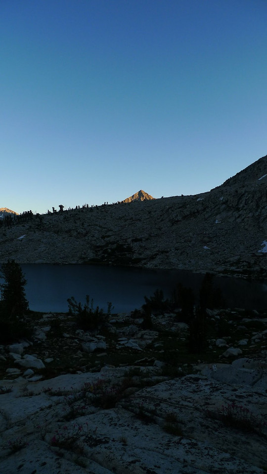 Tip of Arrow Peak with sunset glow.