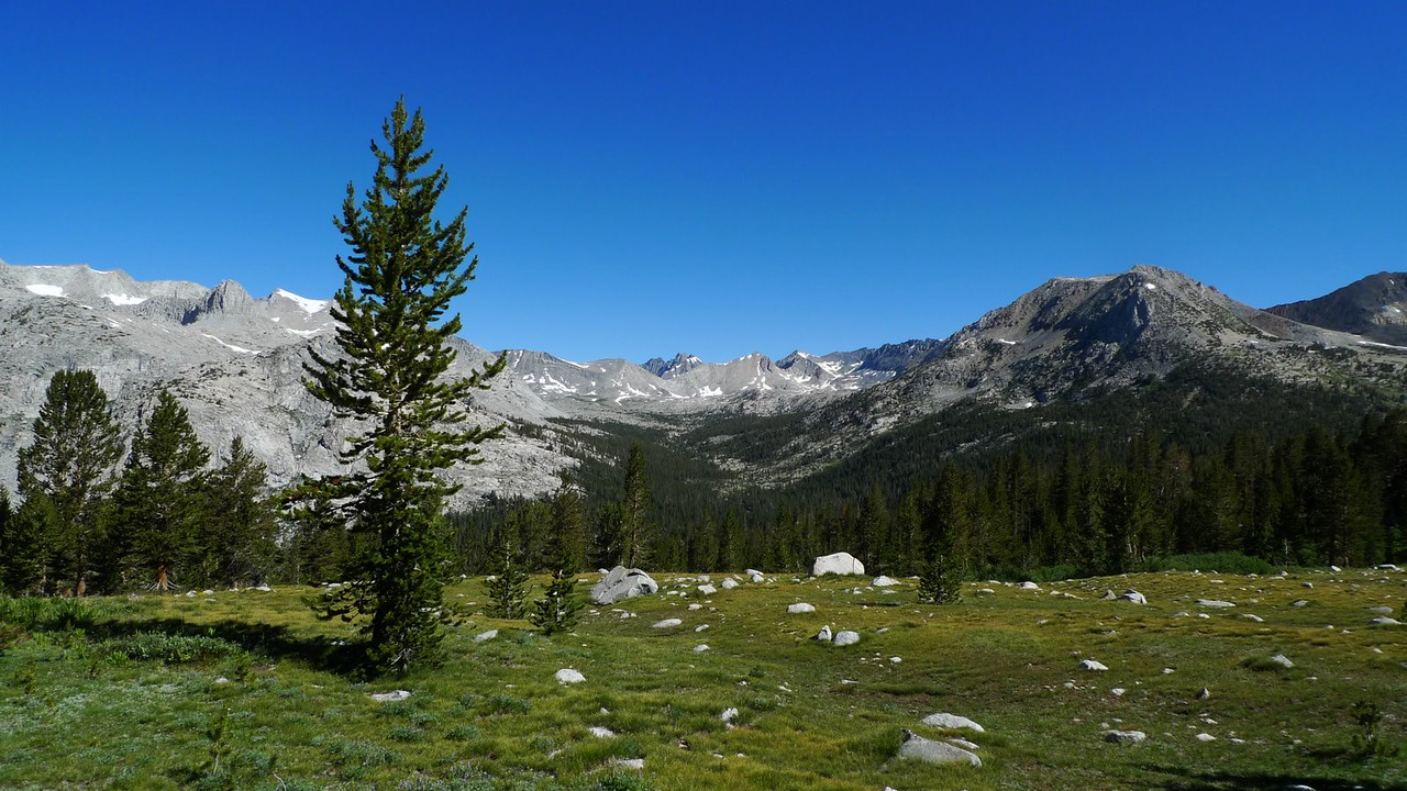 The view up Upper Basin as we hike out from Bench Lake.
