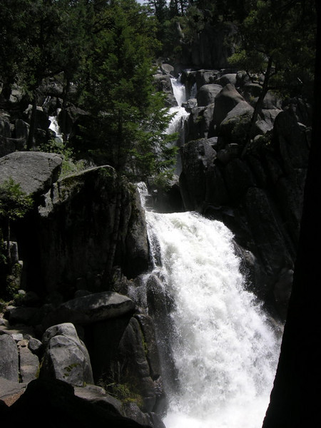 We decided to do an overnight backpack up to Chilnualna Falls in Yosemite - a classic early-season hike due to its low elevation and snowmelt-fed raging river. The falls are actually a ~4.5 mile, ~2500 ft gain hike in along the trail, but judging by the number of people here at the 1/4 mile point, most people probably thought this cascade was the Falls.