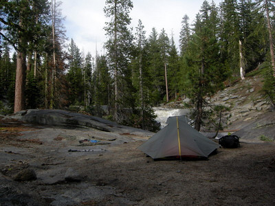 We camped about a mile beyond the real Chilnualna falls - about 1/4 mile off-trail beyond the 'crossing', which is impassible this time of year.