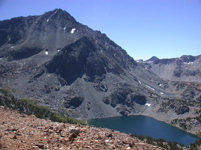 Gendarme Peak (13,252') and Ruwau Lake