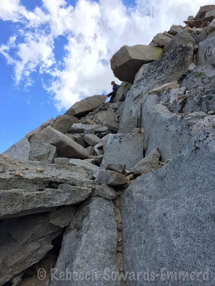 Back in the steep boulder section - thankfully relatively short compared to the rest of the route.