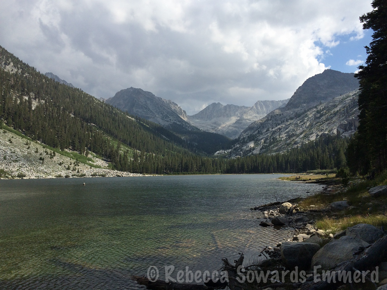 Mt Genevra (center) from East lake. We start hustling to find camp before storms build.