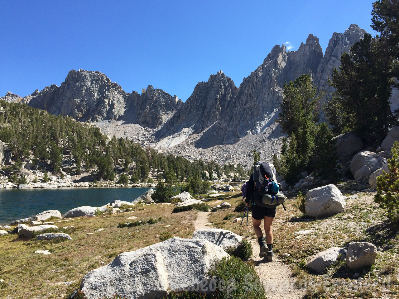 Walking along Kearsarge Lakes, looking for the perfect campsite.