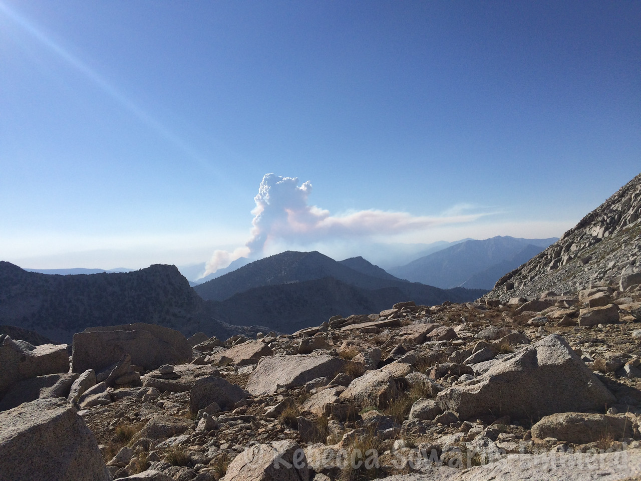 As we descended Sphinx Pass I watched the pyrocumulus clouds from the Rough Fire grow
