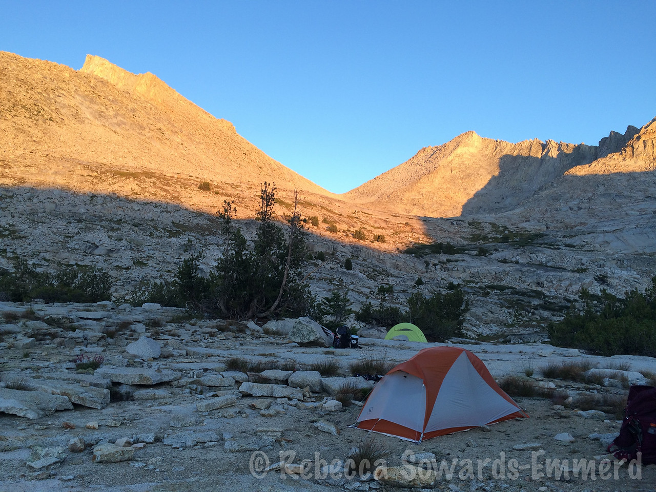 Finally settled into camp at one of the upper Sphinx Lakes, Sphinx pass in the background