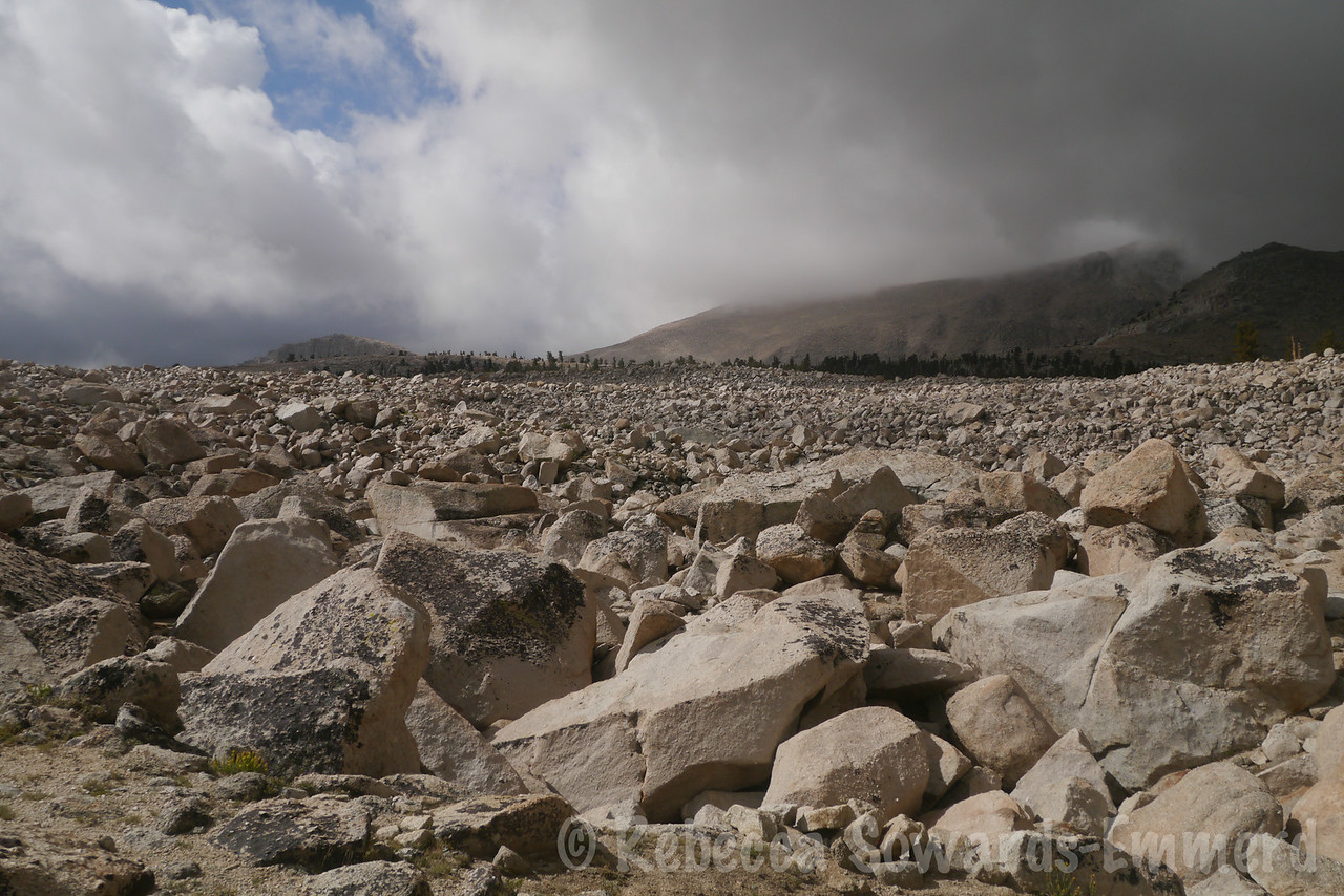 Boulders as far as the eye can see. I'm at a decision point - I can keep going and hope it clears, or turn around. It's much more exposed up here so if the storms *don't* clear I'm in a more dangerous spot than down lower.