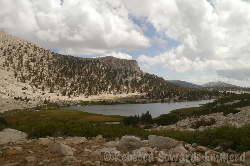 Long Lake. You can see how the skies are clearing up elsewhere, but it's still dark over the peak and pass.
