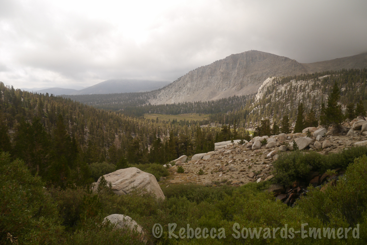 Looking back towards where I have been hiking, with 'Shortcut point'