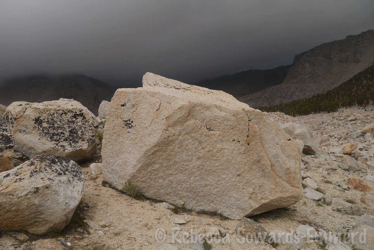 I skirted the edge of the boulder field while the clouds thickened. Ugh.