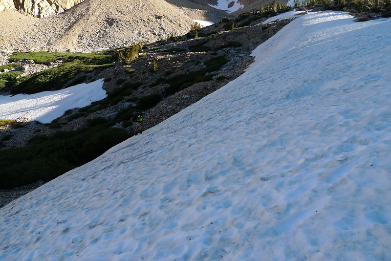 I'm on the talus - and Sooz starts up the snow.